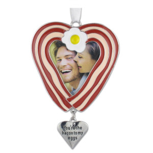 Bacon Ornament -- Heart Shaped Bacon and Eggs Photo Ornament with an Engraved Heart Charm That Reads You're the Bacon to My Eggs -- Husband, Wife, Bo