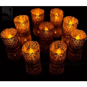 FLAMELESS TEA LIGHT SET 24 Flickering LED Battery Tealight Candles With BONUS Votive Wraps© Included From Frux Home and Yard