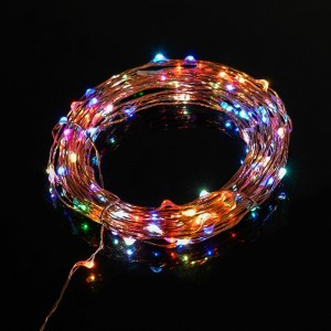 TaoTronics Led String Lights Starry String Light Copper Wire Lights in 7 rainbow colors (100 Leds, 33ft, Adapter Powered)