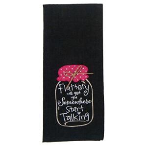 Kay Dee Designs Kitchen Embroidered Chambray Mason Jar Tea Towel (Flattery - Start Talking - Black)