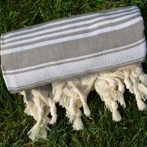 Gray Turkish Towel Peshtemal - 100% Natural Dyed Cotton - for Beach Spa Bath Swimming Pool Hammam Sauna Yoga Pilates Fitness Gym Picnic Blanket (Dand
