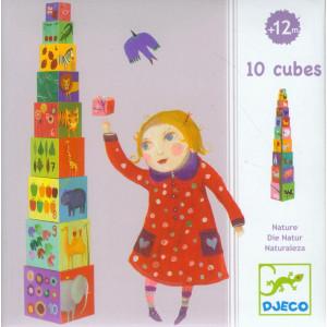 Djeco Nature and Animal Blocks - 10 Stacking Blocks