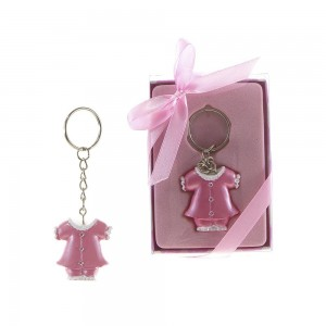 """Lunaura Baby Keepsake - Set of 12 """"Girl""""  Baby Clothes with Crystals Key Chain Favors - Pink"""