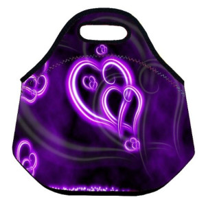 Fashional Purple Hearts Boys Girls Insulated Waterproof Carrying Lunch Tote Bag Cooler Box Neoprene lunchbox Container Soft Case baby Handbag School