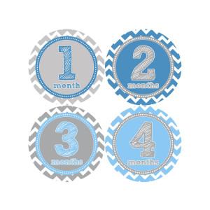 Months in Motion 222 Monthly Baby Stickers - Baby Boy - Months 1-12 - Milestone Sticker in Chevron
