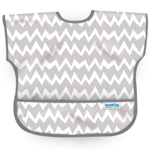 Bumkins Waterproof Junior Bib, Gray Chevron, 1-3 Years