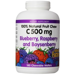 Natural Factors - Vitamin C 500mg, 100% Natural Fruit Chew, Blueberry, Raspberry, and Boysenberry, 180 Chewable Wafers