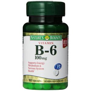 Nature's Bounty Vitamin B6, 100mg, 100 Tablets