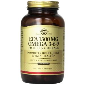 Solgar EFA Omega 3-6-9 Supplement, 1300 mg, 120 Count