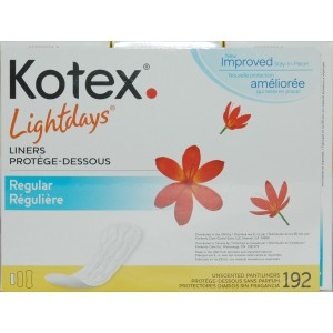 KOTEX Lightdays Unscented Pantiliners, Regular, 192 Count
