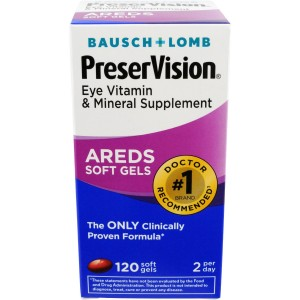 Bausch and Lomb PreserVision Eye Vitamin and Mineral Supplement, 120-Count Soft Gels