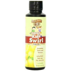 Barlean's Organic Oils Kid's Omega Swirl Fish Oil, Lemonade Flavor, 8 Ounce Bottle