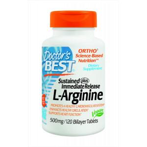 Doctor's Best Sustained Plus Immediate Release L-Arginine 500mg, 120 Bilayer Tablets