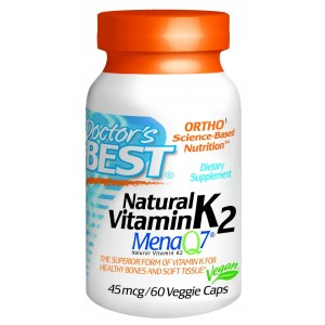 Doctor's Best Natural Vitamin K2 MenaQ7 Vegetable Capsules, 60-Count