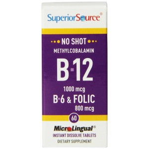Superior Source No Shot Methylcobalamin Vitamin B12/B6/Folic Acid Tablets, 1000mcg/800 mcg, 60 Count