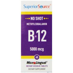 Superior Source No Shot Methylcobalamin B12 Multivitamins, 5000mcg, 60 Count