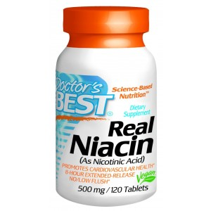 Doctor's Best Real Niacin (Extended Release) (500mg), 120-Count