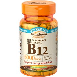 Sundown Naturals Sublingual B-12 6000 Mcg Tablets, 60 Count