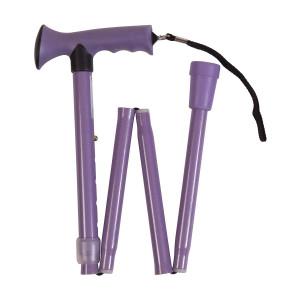 HealthSmart Colorful Comfort Grip Walking Cane with Soft Gel-like Handle, Adjustable, Folding, Lavender