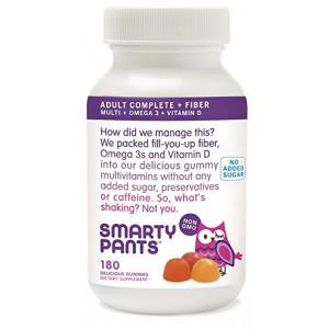 SmartyPants Adult Complete plus Fiber: Multivitamin, Omega 3, Vitamin D, No Added Sugar, 180 count