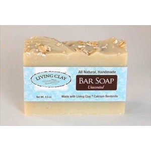 Unscented Oatmeal and Calcium Bentonite Clay Soap - 1 Bar - Living Clay Exfoliant Skin Care Soap For Oily Skin - Herbal Face and Body Soaps