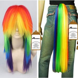 Free Hair Cap+ for Kids and Adults My Little Pony Rainbow Dash Cosplay Costume Wig Tail Ponytail Multi Color Synthetic Party Wig Tail Cosplay Convent