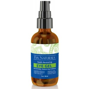 Eva Naturals Eye Gel - Larger Size 2 oz Bottle - Best Firming Eye Cream Treatment for Dark Circles, Puffy Eyes, Crow's Feet Wrinkles and Fine Lines (