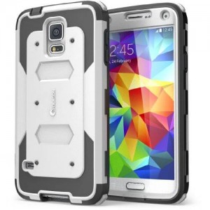 i-Blason Cell Phone Case for Samsung Galaxy S5 - Retail Packaging - White