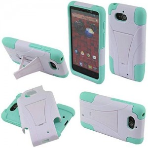 Fincibo (TM) Motorola Droid Mini XT1030 Hybrid Dual Layer Protector Cover Case Gel Silicone With Stand - White/ Sky Blue