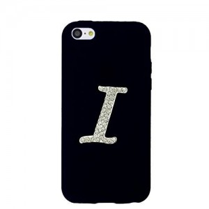 Us-Trendsss 3D Rhinstone Crystals initial/Alphabet/Character Black silicone Soft Case for for iPhone5c (I)