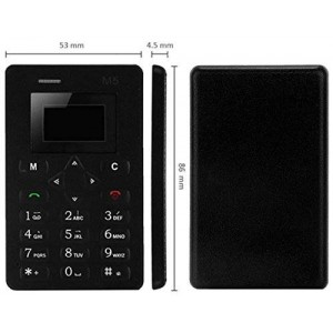 Aeku M5, 1.0 Inch 4.5mm Ultra Thin Fashionable Mini Mobile Positioning Card Phone, Micro SIM (black)