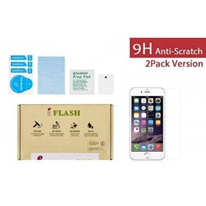 "iFlash 2 Pack of Premium Tempered Glass Screen Protector For Apple iPhone 6 4.7"" Model"