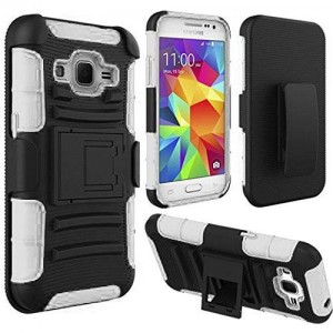 HRWireless HR Wireless Side Stand Cover Case with Holster for Samsung Galaxy Prevail LTE Core Prime G360 - Retail Packaging - Black/White
