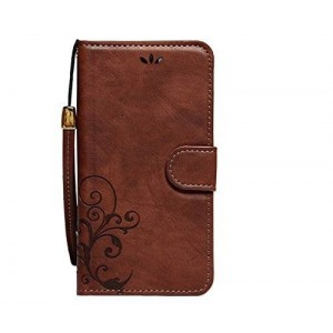 ACO-UINT Vintage Emboss Flower Flip Wallet PU Leather Cover Skin Case with Strap for iPhone 6 4.7 Inch - Dark Brown