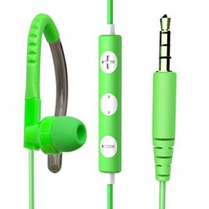 MAXROCK (TM)3.5mm Jack Stereo Sport Headphones with Flexible Earhook Build-in Microphone and Remote Control (Green)