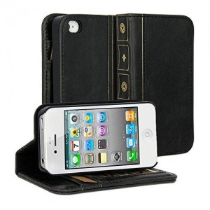 iPhone 4S Case, GMYLE Book Case Vintage for iPhone 4 4S - Black Classic [Crazy Horse Pattern] [PU Leather] Book style Flip Folio Case Cover