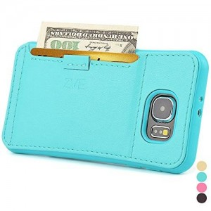ZVE 3222857 Shock-Absorption Ultra Slim Protective Leather Wallet Cover with Credit Card ID Holders for Samsung S6 - Mint Green