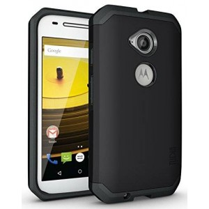 TUDIA Slim-Fit CYGEN Dual Layer Protective Case for Motorola Moto E (2nd Generation, 2015) (Matte Black)