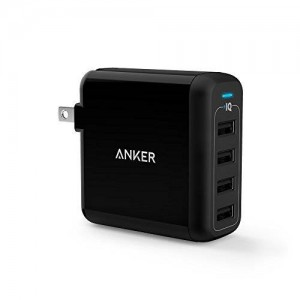 Anker PowerPort 4 (40W 4-Port USB Wall Charger) Multi-Port USB Charger with Foldable Plug for iPhone 6s / 6 / 6 Plus