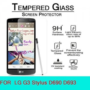 AnoKe LG G3 stylus D690 Tempered Glass Screen Protectors 9h Hardness, 2.5d Rounded Edges, 0.3mm Thickness LG G3 stylus , LG G3 stylus