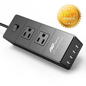 FlePow Portable Power Strip Surge Protector Travel Charger with 2 AC Plugs and 4 USB Charger Ports for iPhone