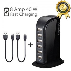Avantree Fast Desktop Multi Devices USB Charging Station Smart ipad iPhone Charger for Smartphones Tablets Universal Compatible - PowerTower Black US