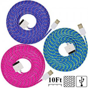 UNISAME [Pack of 3Pcs] 10Ft 3Meter Rugged Nylon Braided 30 Pin USB Charger Cord Charging and Sync Data Extension Cable for iPhone 4 4S 3GS 3G