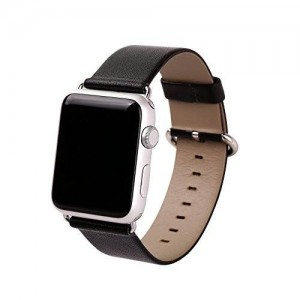 Apple Watch Band, eLander™ Top-grain Leather Band Strap with Stainless Metal Clasp for Apple Watch All Models 42mm (Leather - Black)