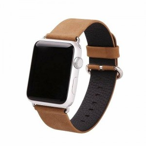 Apple Watch Band, eLander™ Top-grain Leather Band Strap with Stainless Metal Clasp for Apple Watch All Models 42mm (Suede Leather - Light Brown)