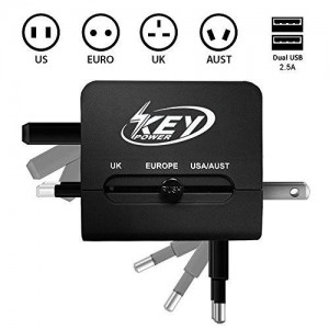 Key Power Universal All in One International Outlet Travel Adapter with USB Charger for [US, UK, Europe, Australia, France, Italy, Peru, Germany, Greece, Poland, Ireland, Paris, Switzerland, Sweden]