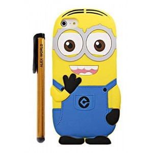 ALEX WORLD 5C Case, Cute Cartoon 3D Despicable Me Minion Soft Silicione Case Cover for iphone 5C (Blue Two Eyes)
