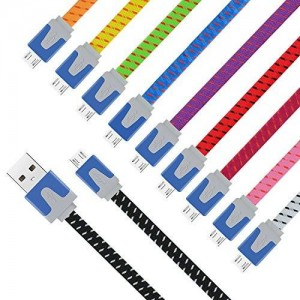 Eversame High Speed Nylon Braided Tangle-Free Micro USB 2.0 A Male to Micro B Data Sync - Assorted Colors