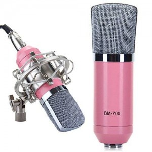 KssFire KissFire Condenser Sound Recording Microphone + Mic Shock Mount,Wired Mic Mike Dynamic+Stand Holder, Ideal for radio broadcasting studio
