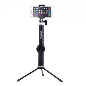 Foneso Aluminum Extendable Selfie Stick with Bluetooth Remote Shutter and Metal tripod